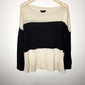 Alice + Olivia Base Color Block Linen Sweater L